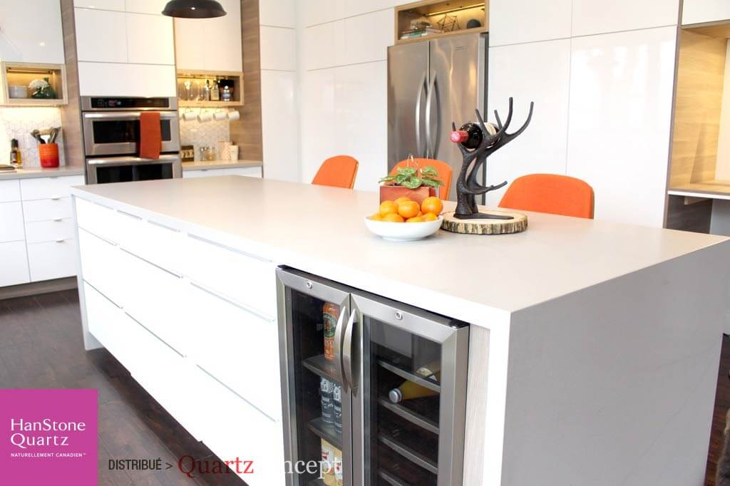 Quartz HanStone couleur artisan grey leather pour cuisine