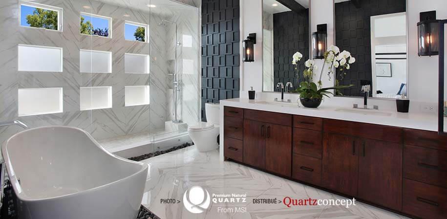 Arctic White comptoir de Quartz MSI