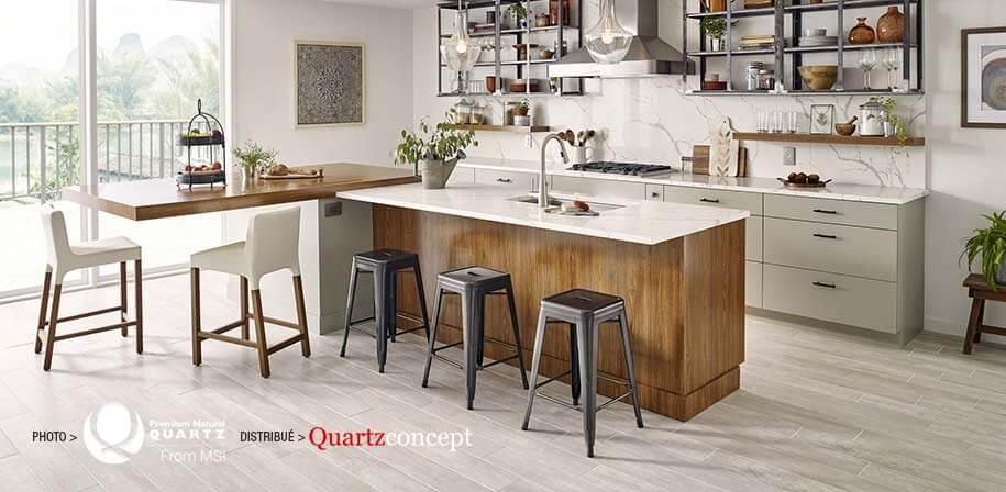 Calacatta Laza comptoir de Quartz MSI