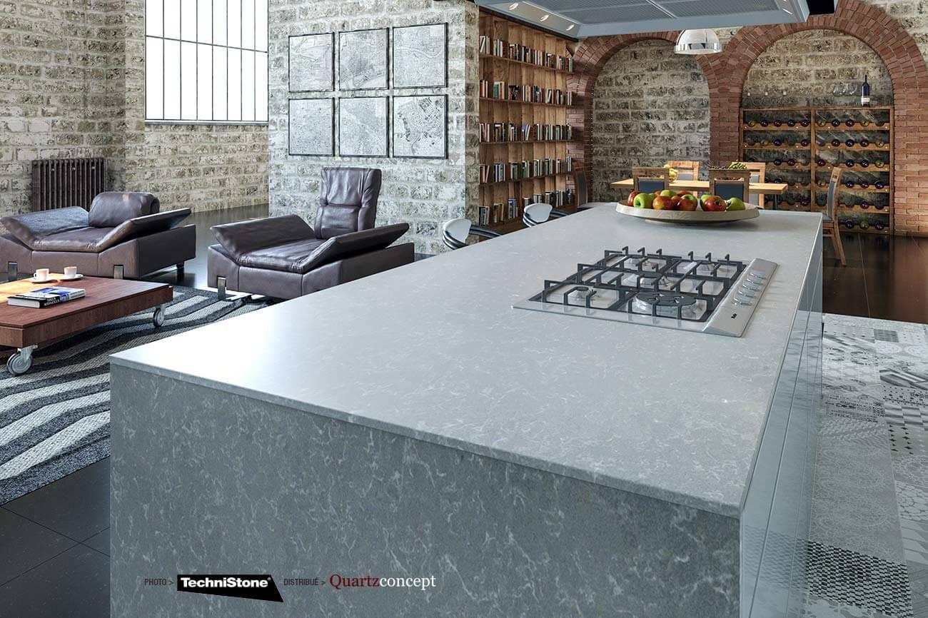 couleur-Noble-Pro-Cloudy Quartz Technistone | Comptoir de cuisine et salle de bain