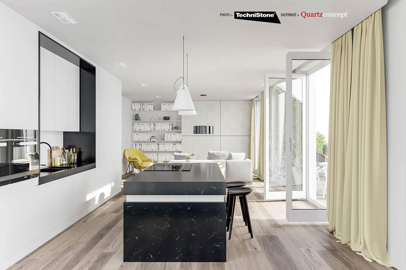 couleur-Noble-Silver-Notte Quartz Technistone | Comptoir de cuisine et salle de bain