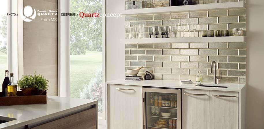 Marbella White comptoir de Quartz MSI