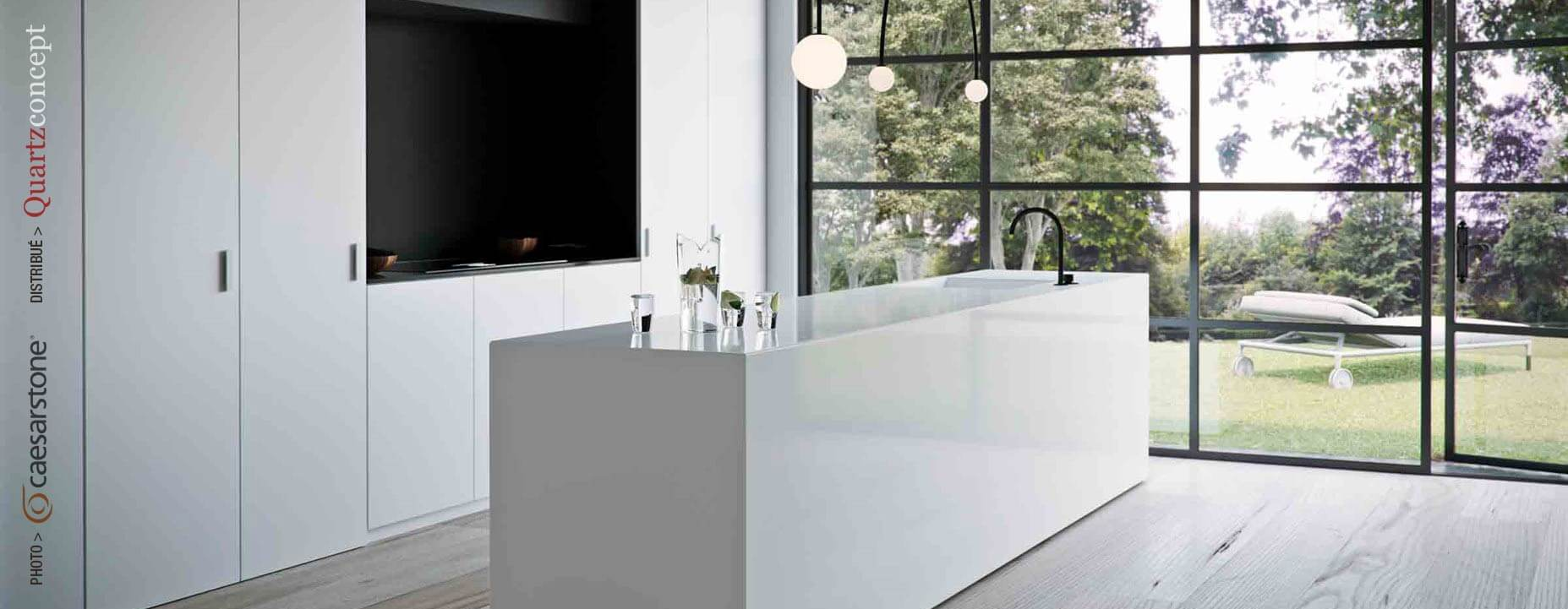 Quartz Caesarstone couleur 1111 vivid white