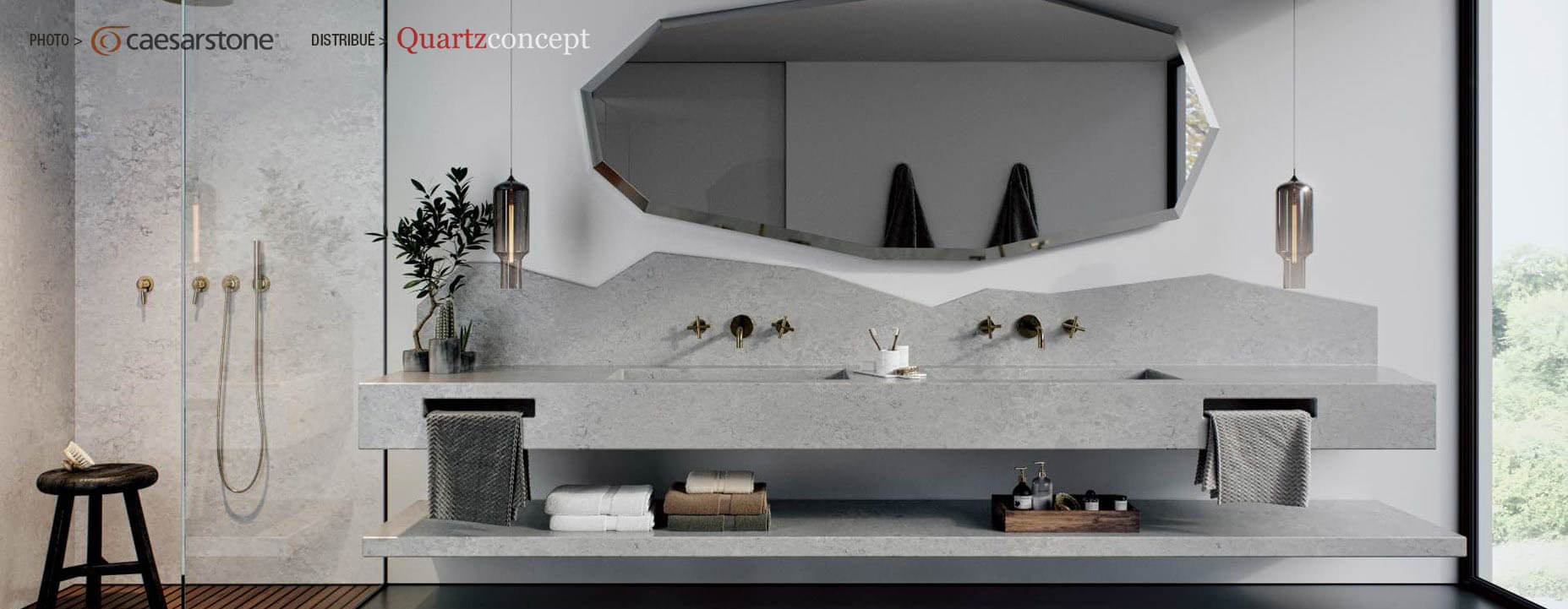 Quartz Caesarstone couleur 4044 airy concrete